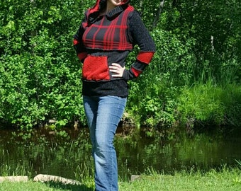 Plaid recycled sweater hoodie pullover