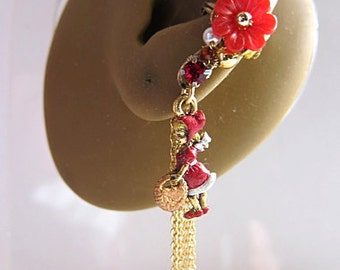 Little Red Riding Hood Ear Cuff Woodland Gold Dragonfly Elegant Feminine Bling Nature Fantasy Dangle Cuff Earring