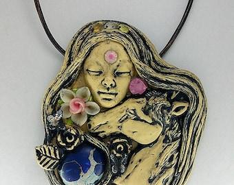 Horse Necklace - Horse Pendant - Horse Jewelry - Horse Spirit - Animal Totem - Clay Goddess - Shaman Necklace - Spirit Animal - Medicine