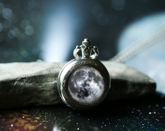 Moon Pocket Watch Necklace - Outer Space Jewelry, Pocketwatch Locket Pendant - Pretty Science Gift - Lunar Phase Galaxy Jewellery