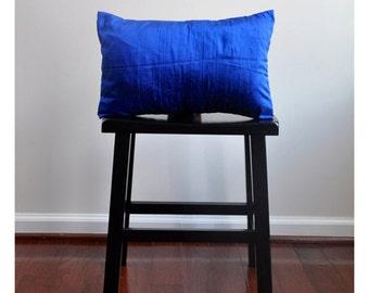 COBALT BLUE silk pillow, 12x16 lumbar pillow, toss pillow, decorative pillow, accent pillow, silk pillow cover