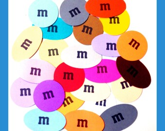 100 m&m Candy Plain or Peanut Candies Cardstock Punches Confetti Table Sprinkles Card Stock Party Decoration