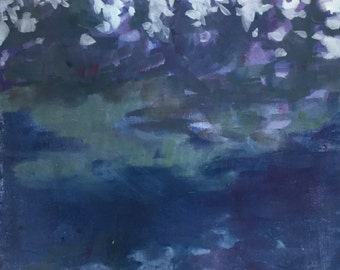 Evergreen Evening - 12 x 12 inches original acrylic landscape painting of pine trees reflecting in the water by Barb Mowery