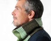 Green winter Cowl, Mens Scarf, Green patchwork Mens Cowl Scarf, Winter fashion, Winter accessories