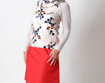 Womens white top, Womens clothing,  Red and blue geometric pattern, Long sleeve top, Womens tops, MALAM