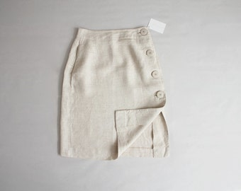natural linen skirt | side button skirt | a line skirt