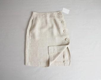 natural linen skirt | side button skirt | a line skirt