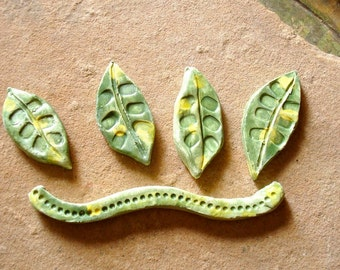 Mint Green & Yellow Leaf Leaves and Stem Ceramic Clay Pottery Tiles for Mosaics, Assemblage or Crafts