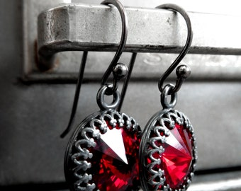 Blood Red Crystal Earrings, Gothic Valentine Swarovski Rivoli Red Crystal Earrings, Gunmetal Black & Red, Dark Sexy Gothic Goth Jewelry