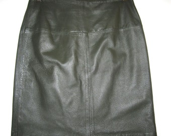 Olive Leather Skirt - Vintage 90's Olive Green Cowhide Above Knee - Size 8 (runs small)
