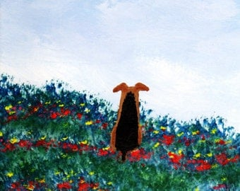 Welsh Terrier Welshie Airedale Dog Art Print by Todd Young Summer Garden