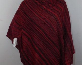 Handmade Knit Poncho - Black and Red Random Stripes