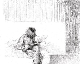 Reading and Dreaming, black white pencil sketch illustration, 16 x 19 cm