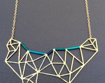 Geometric Brass Necklace Teal Aqua Navy Wire Wrapped Necklace
