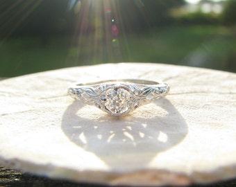 Art Deco Diamond Engagement Ring, Fiery Old European Cut Diamond, Charming Orange Blossom Details, By Traub, with Traub Bros. Box