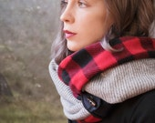 RED PLAID and GREY infinity scarf - reversible cowl, multiple styling options. Plaid fleece and grey sweater knit, denim and button accent.
