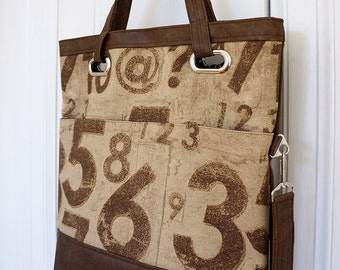 Jasmine fold over tote bag (numbers print)