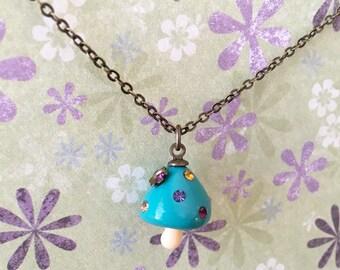 Kawaii Sparkling Mushroom Antique Brass Necklace, Woodland Necklace, Mushroom Necklace, Cute Necklace, Gift for her Christmas Gift, BFF Gift