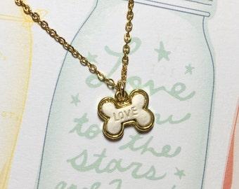 Bone of Love Golden Necklace, Bone Necklace, Love Necklace, Kawaii Necklace, Dog Bone Charm, Dog Lover Gift, Birthday Gift, Christmas Gift