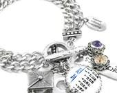 Personalized Calendar Jewelry, Customized Calendar Charm Bracelet,  Calendar Charm Jewelry, Anniversary Jewelry, Birthday Jewelry