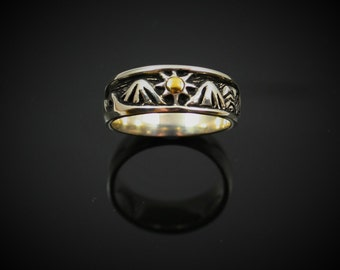 Mountain Sunrise Ring, sterling silver with 18 karat inlay