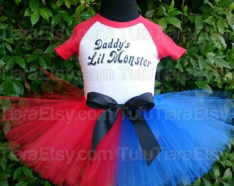 "Harley Quinn Suicide Squad Tutu Costume Set w/ Daddy's Lil Monster Red 3/4 Sleeved Raglan & Red and Blue 8"" Economy Tutu Skirt for Girls"