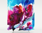 "Pink Flower Shower Curtain, Poppy Poppies Watercolor Painting of Original abstract floral art ""Colorful Bloom 2"" Kathy Morton Stanion  EBSQ"