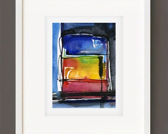 "Abstract Watercolor Painting, Spiritual Art, Original Minimalist Colorful, black, blue, red, ""Magic Window 4"" by Kathy Morton Stanion EBSQ"