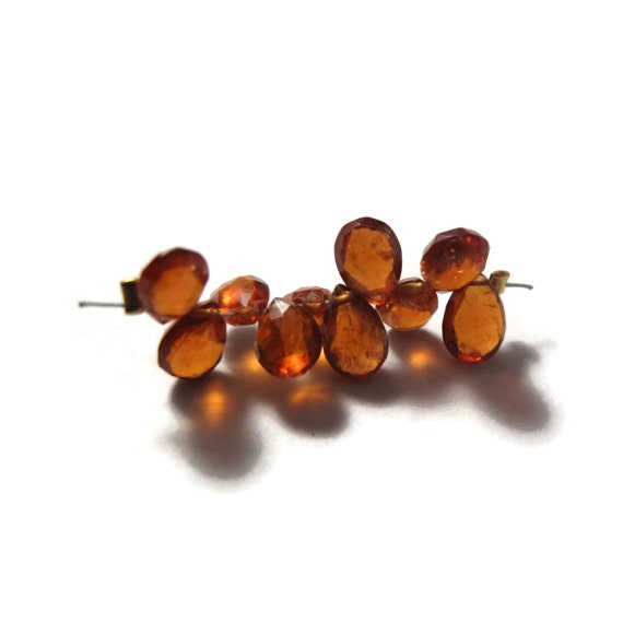 Ten Hessonite Briolettes, 10 Faceted Pear Shaped Gemstones Beads for Making Jewelry, 6x4mm - 7x5mm (B-Hes2a)