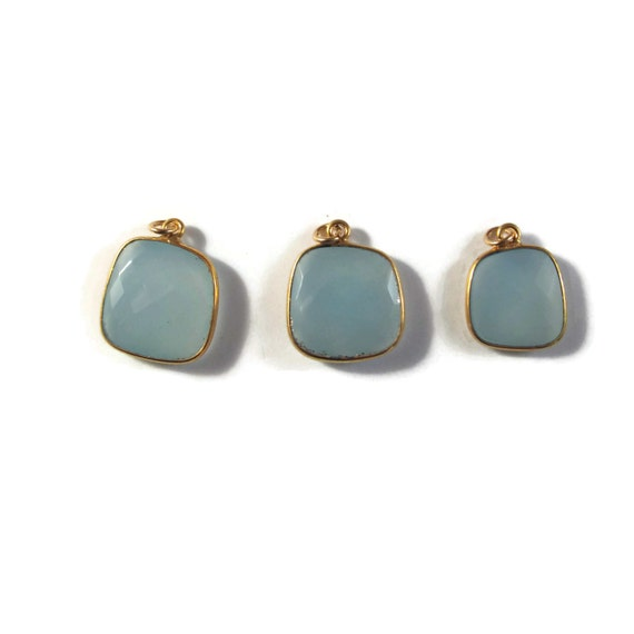 One Blue Chalcedony Charm, Light Blue Gemstone Pendant with Gold Plated Bezel, Charm for Making Jewelry (C-Ch2b)