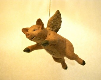 Flying pig Walnut Ridge , Vintage ornament , signed , hand painted , glittered wings