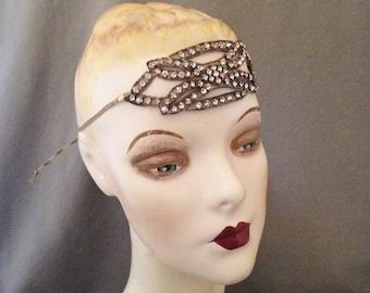 Edwardian , Teens, 1920s Gatsby Paste, Rhinestone,   Headband, Headache Band, Headpiece, Bridal