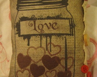 CLEARANCE SALE!! Recipe for Love, Valentine's Day jar of hearts printed pillow