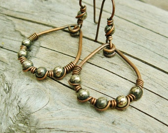 Antiqued Copper Wire Wrapped Hoops with Silver beads - mixed metal dangle hoops