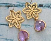 Lavender Star Chandelier Earrings