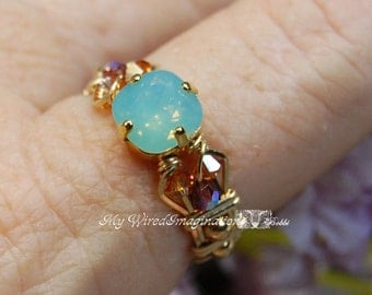 LAST ONE, Pacific Opal, Genuine Swarovski Crystal, Hand Crafted Wire Wrapped Ring, Pale Blue Green Opal, Fine Jewelry, Handmade Ring