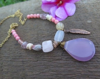 Long Boho Pastel Gemstone Necklace - Pink Girly Feather Charm - Beaded Brass Chain - Summer Daze - Free Spirited Hippy Jewelry - Good Vibes