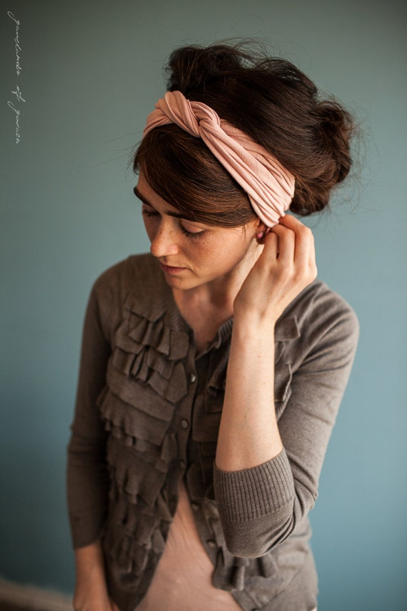 Twist stretch headband in Rose- New Garlands of Grace hair head band headwrap