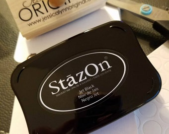 StazOn Rubber Ink Pad for your Rubber Stamps   - Choose the Color and Size - For Stamping on Glass, Metal, Plastic, Leather and more