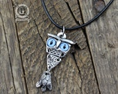 Articulated Owl Pendant - With Blue Glass Cat Eyes - Art Nouveau Inspired - Handmade Pewter Jewelry Creations By Doctorgus