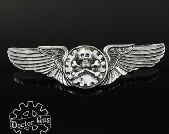 Airship Pilot Wings - Airship Pirate Wings - Steampunk Pilot Wings - Doctor Gus Handcrafted Cosplay Accessories - Rank Badge Insignia Medal