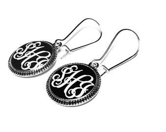 Personalized Earrings, Monogram Jewelry, Dangle Earrings, Bridesmaids Gift, Handmade Jewelry, Gift for Her, Custom Jewelry, Name Jewelry