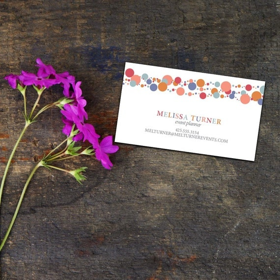 Confetti Garland Calling Card/Business Card, Set of 50 or 100 Business Cards, Festive Calling Cards, Personalized Calling Cards, Party Cards