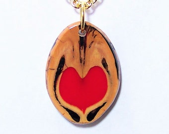Retro Walnut Pendant with a Red Heart OOAK #11 and a Gold Chain Necklace with a choice of 2 sizes Love in a Nutshell