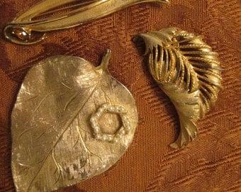 Three Vintage Gold Tone Leaf Pins - 1960s Costume Jewelry - Fall Fashion