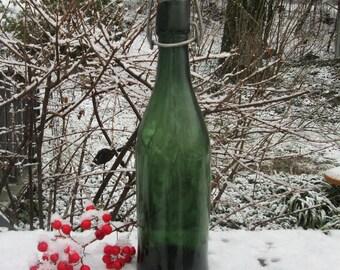 Dark Green Vintage Beverage Bottle - Decanter - Porcelain Lid With Metal Bale