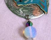 Astrological Pisces Wearable Art Pin Pendant Original Hand Painted Design OOAK Jewellry Sea Pearl Opal Bling Oceanic