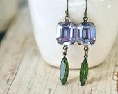 Alexandrite and tourmaline jewel dangle earrings / rhinestone dangle earrings/ elegant wedding earrings. Tiedupmemories