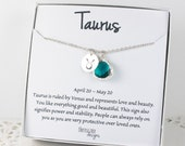 Taurus Zodiac Silver Necklace, Taurus May Birthday Necklace, May Birthday Jewelry, Zodiac Necklace, Astrology Silver Necklace