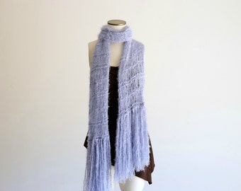 Light Blue Scarf, Pale Blue Scarf, Solid Blue Scarf, Hand Knit Scarf with Fringe Solid Color Scarf